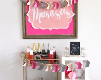 mimosa bar poster-sized sign (downloadable file in three shades of coral pink)