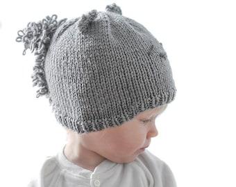 32df306c909 Gray Squirrel Hat KNITTING PATTERN   Squirrel Pattern   Baby Squirrel Hat   Knit  Baby Animal Hat   Squirrel Beanie