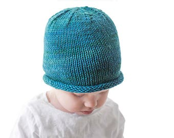Easy Rolled Brim Baby Hat KNITTING PATTERN   Brimmed Hat Pattern   Easy Baby  Hat   Easy Beanie Pattern   Baby Hat Pattern   Knit Hat Pattern 31b31469d8d
