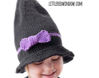 Little Witch Hat KNITTING PATTERN / Witch Hat Pattern / Knit Witch Hat / 1st Halloween Outfit / Baby Witch Hat / Baby Witch Costume