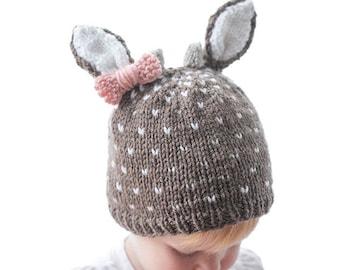 Little Deer Hat KNITTING PATTERN   Baby Girl Deer Hat   Baby Buck Deer Hat    Deer Baby Outfit   Newborn Deer Hat   Hat with Ears   Deer Hat f3732768c79e