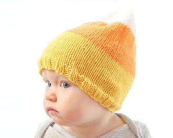 Baby Candy Corn Hat KNITTING PATTERN / Funny Halloween Hat / Candy Corn Outfit / My 1st Halloween / Candy Corn Pattern / Baby Hat Candy Corn