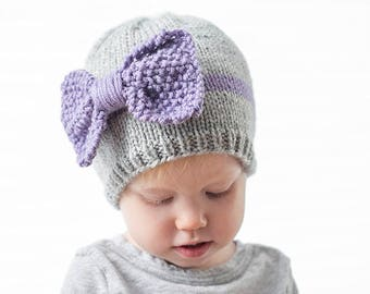 bd7a37e18 Knit Bow Baby Hat KNITTING PATTERN   Newborn baby bow hat