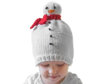 Snowman Hat KNITTING PATTERN   Snowman Pattern   Newborn Snowman Hat    Winter Snowman Hat   Snowman Beanie   My First Christmas 644c0395e3b6