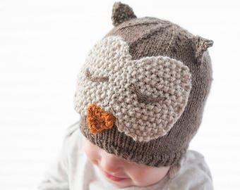 Owl Hat KNITTING PATTERN / Owl Hat Pattern / Knit Owl Hat Pattern / Knit Owl Hat / Sleepy Owl Hat / Owl Hat Baby / Baby Owl Beanie / Owl Hat
