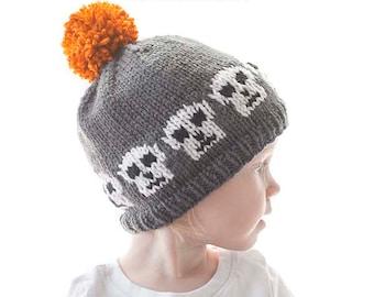 Baby Skull Hat KNITTING PATTERN / Skull Hat Pattern / Skeleton Outfit / Skeleton Hat Pattern / Halloween Hat Ideas /Fair Isle Pattern