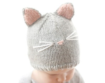 Cat Hat KNITTING PATTERN / Baby Cat Hat Pattern / Cat Hat for Baby / Cat Ear Hat Pattern / Knit Cat Hat / Cat Hat Pattern / Knit Cat Beanie