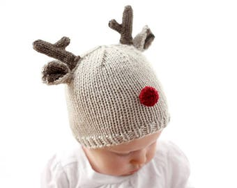 Reindeer Baby Hat KNITTING PATTERN for babies   toddlers   Christmas Hat  Baby   Baby Reindeer Hat   Christmas Knit Hat  My First Christmas 5aac9519d6f2
