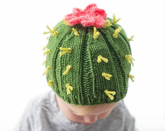 8dcae260c69 Cuddly Cactus Hat KNITTING PATTERN   Knit Cactus Pattern   Summer Knit Hat    Cactus Beanie   Cactus Baby Hat