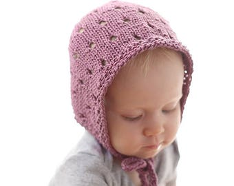 029cc9067d970 Eyelet Baby Bonnet KNITTING PATTERN   Baby Bonnet Patterns Newborn Knit  Pattern Classic Bonnet Simple Bonnet Bohemian Baby Gift Baby Bonnets