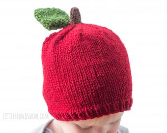Apple Hat KNITTING PATTERN / Baby Apple Hat / Apple Picking Hat / Newborn Photo Prop / Fall Hat / Knit Hat for Toddler / Fall Apple Hat