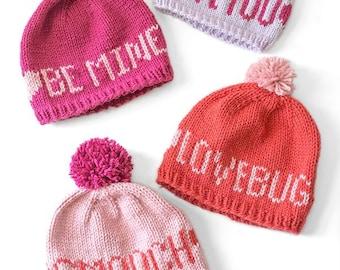 d466f70ef67 Valentine Love Notes Hats KNITTING PATTERN   Valentine Pattern  Valentine s  Day Hat Fair Isle Knit Hat Knit Valentine Hat Baby Valentine Hat