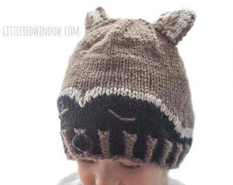 Sleepy Raccoon Hat KNITTING PATTERN   Raccoon Pattern   Woodland Baby Hat    Winter Animal Hat   Raccoon Costume   Raccoon Beanie   14e4b28699e