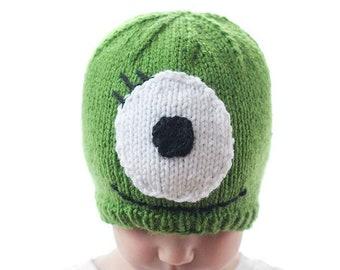 Monster Hat KNITTING PATTERN / Monster Hat Pattern / Baby Halloween Hat Pattern / Green Monster Hat Knitting Pattern
