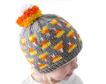 Cozy Candy Corn Hat KNITTING PATTERN / Pom Pom Hat Pattern / Candy Corn Pattern / Baby Halloween Hat Pattern