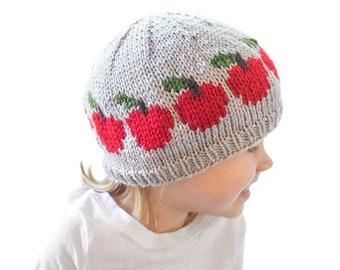 Red Apple Hat KNITTING PATTERN / Baby Apple Hat Pattern / Fall Apple Hat Knitting Pattern / Fair Isle Apple Pattern