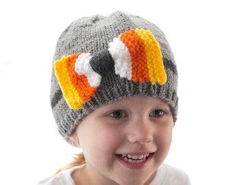 Candy Corn Bow Hat KNITTING PATTERN / Halloween Baby Hat Knitting Pattern  / Candy Corn Pattern / Knit Candy Corn Hat