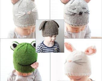 SAVE 20% Animal Hat 5 Knitting Pattern BUNDLE Animal Hats Animal Hats with  Ears Newborn Animal Hats Knit Animal Hat Animal Beanie Hat 85a8ed635c2