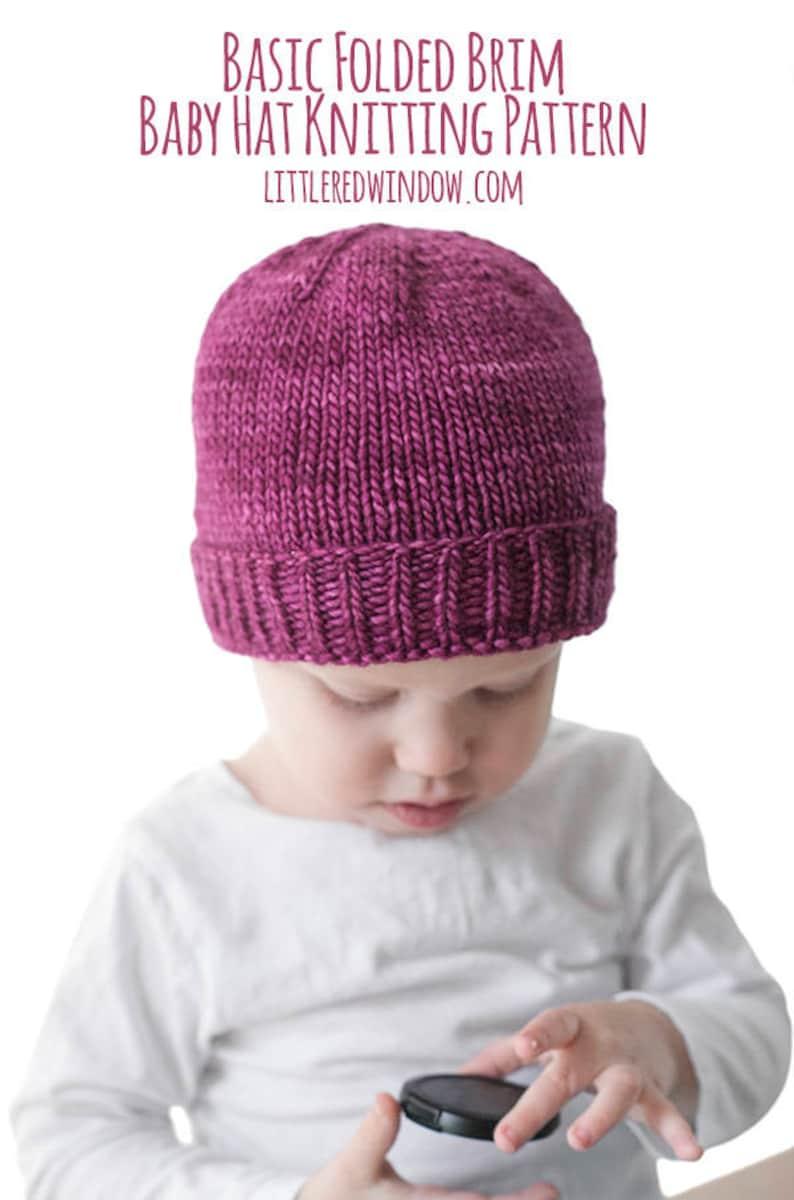 65d51d61b Easy Folded Brim Hat KNITTING PATTERN   Brimmed Hat Pattern