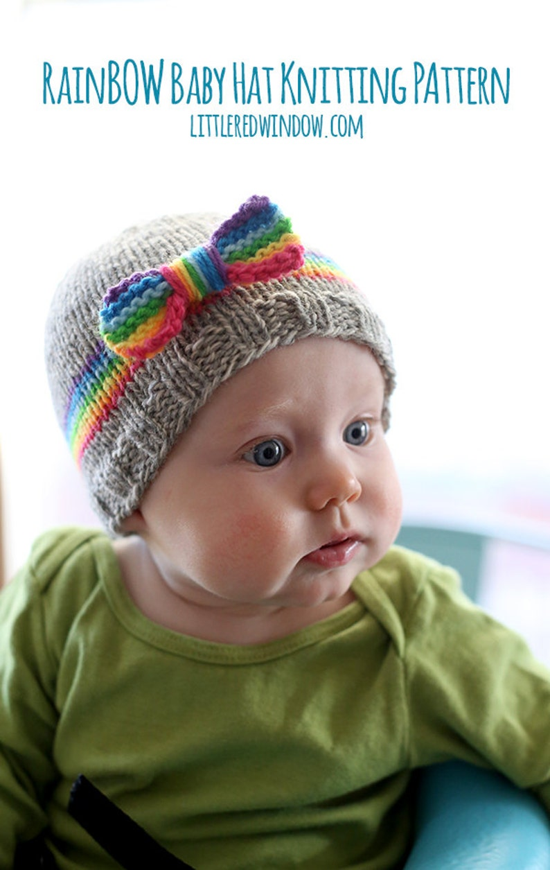 RainBOW Baby Hat KNITTING PATTERN   Knit Rainbow Hat   Rainbow  a34f695c2ab0