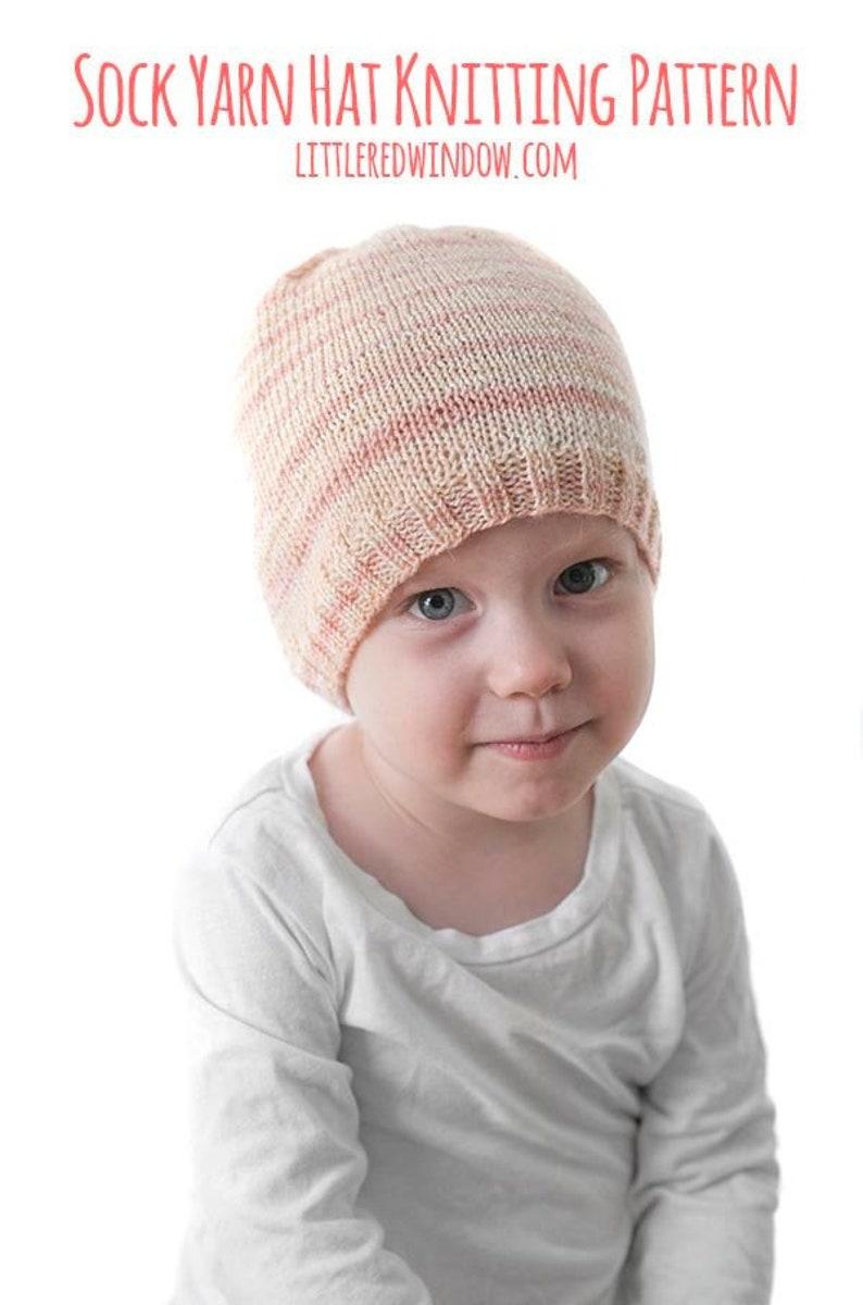 Sock Yarn Hat KNITTING PATTERN // Easy Beanie Pattern Using Sock Yarn //  Baby Hat Knitting Pattern with Fingering Weight Yarn