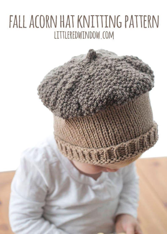 c5ab8933b01 Fall Acorn Hat KNITTING PATTERN knit baby hat pattern for