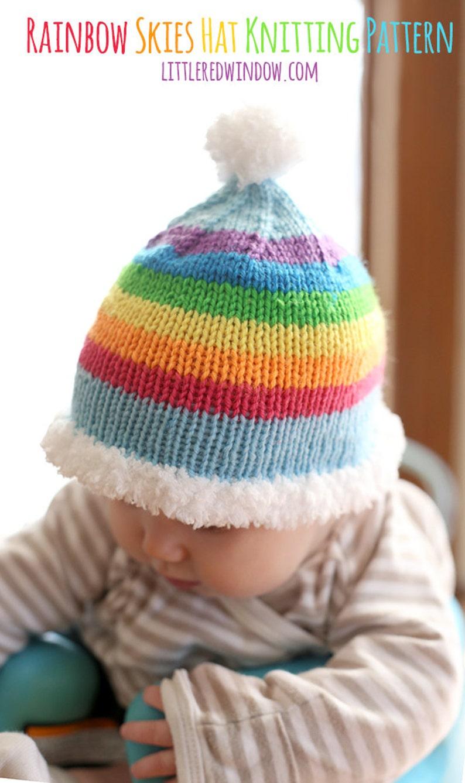 831dc885585 Rainbow Skies Baby Hat KNITTING PATTERN knit baby hat