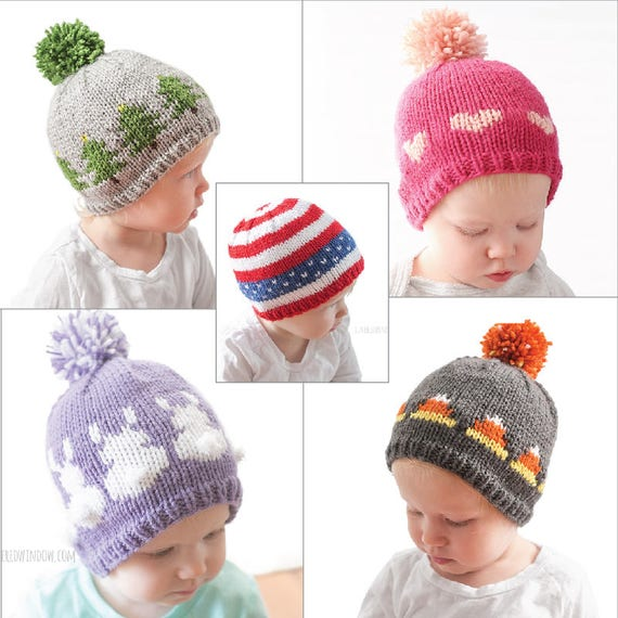 Save 20 Holiday Hats 5 Knitting Pattern Bundle Holiday Etsy