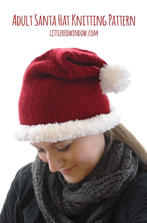 Adult Santa Hat KNITTING PATTERN Christmas knit hat Santa | Etsy