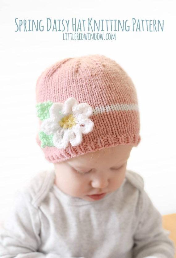 Baby Flower Hat Knitting Pattern Easy Baby Hat Pdf Spring Etsy