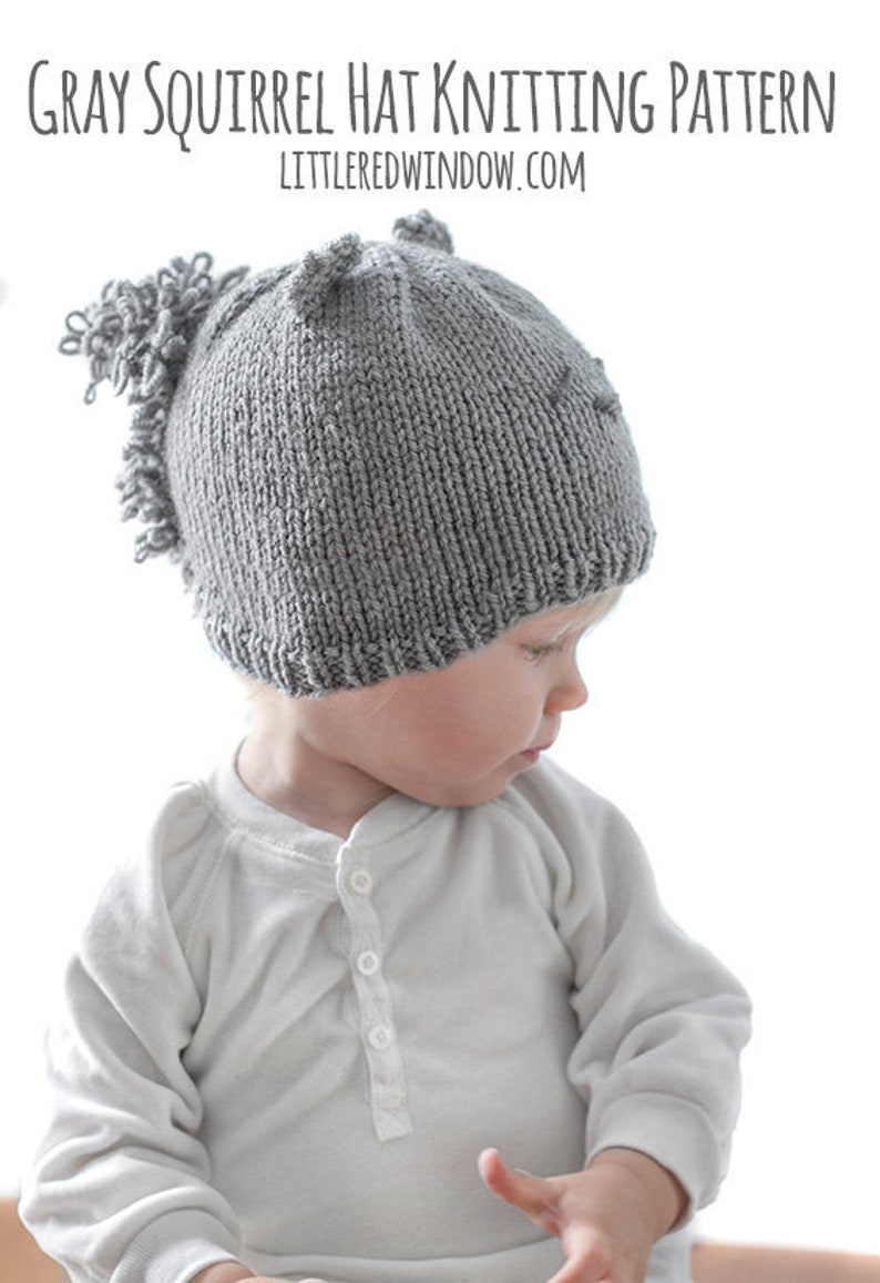 70e325089 Gray Squirrel Hat KNITTING PATTERN   Squirrel Pattern   Baby
