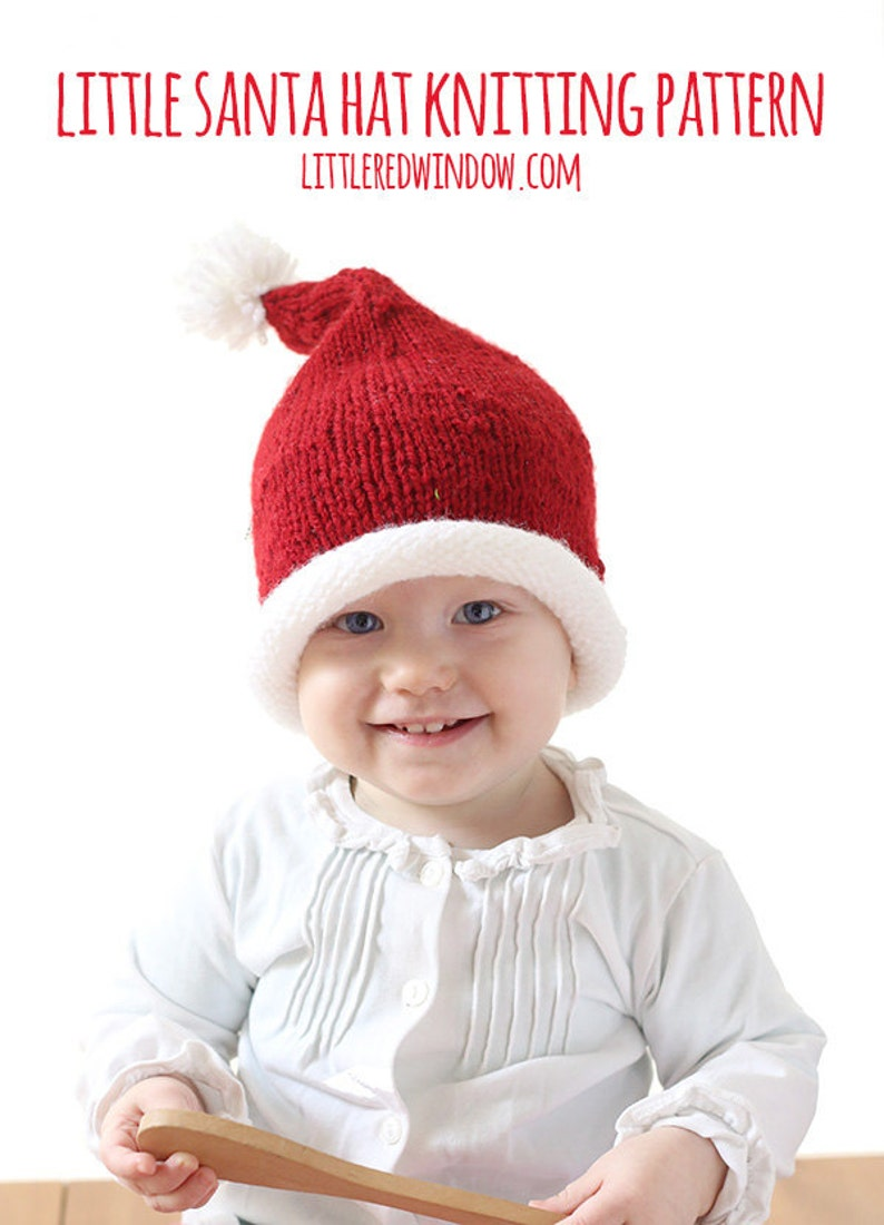 Baby Santa Hat KNITTING PATTERN   Santa Hats for Kids   Santa  a9876ca0a12