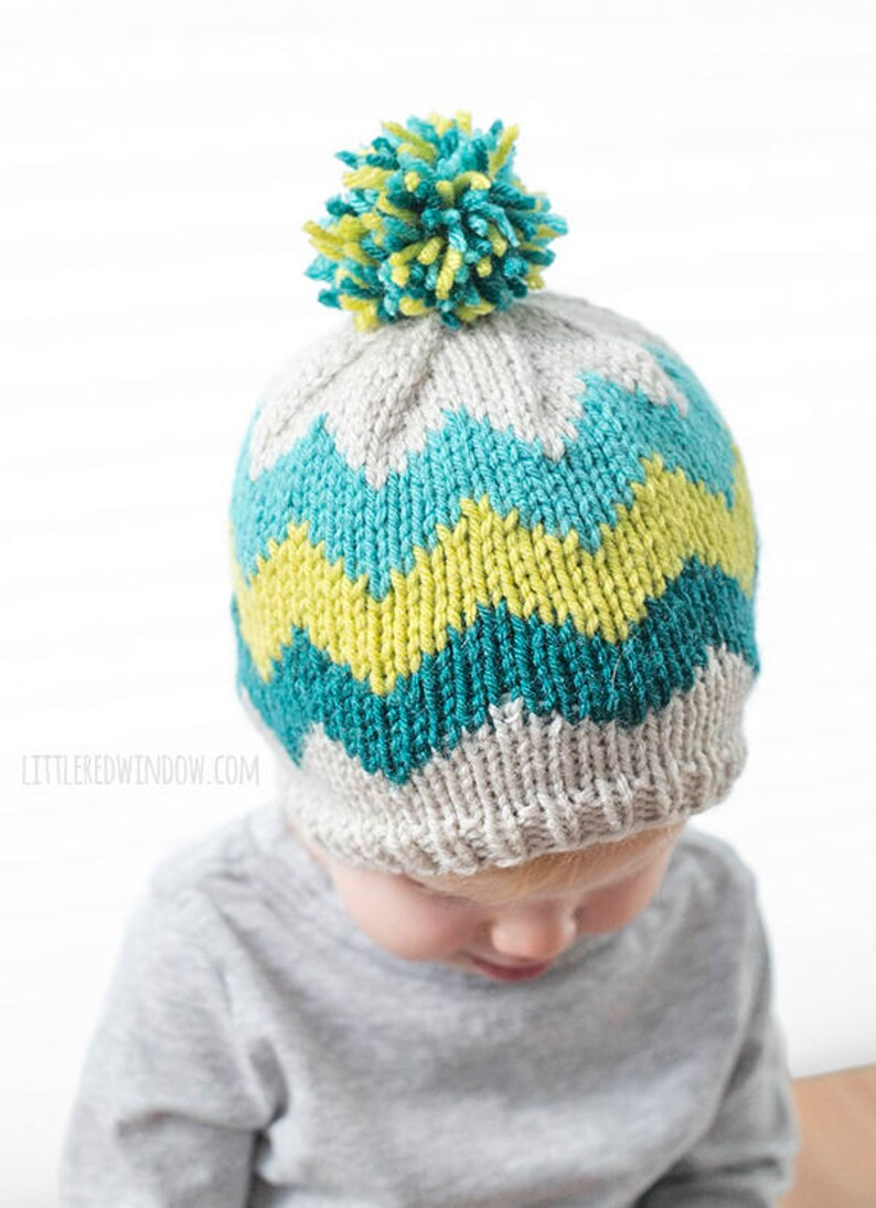e935b39d3db Baby Chevron Hat KNITTING PATTERN   Knit Chevron Pattern