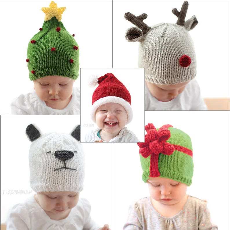 d5656ffee7c Save 20%! 5 Christmas Hat KNITTING PATTERNS / Christmas Hat Baby / Knit Hat  Pattern / My First Christmas/Christmas Outfit/Knit Christmas Hat