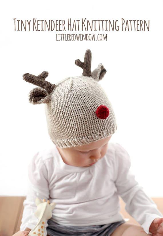 Rentier Baby Mütze Stricken Muster für Babys & Kleinkinder / | Etsy