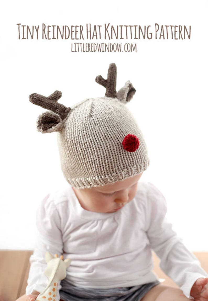 Reindeer Baby Hat KNITTING PATTERN for babies   toddlers    56dd721f19f3