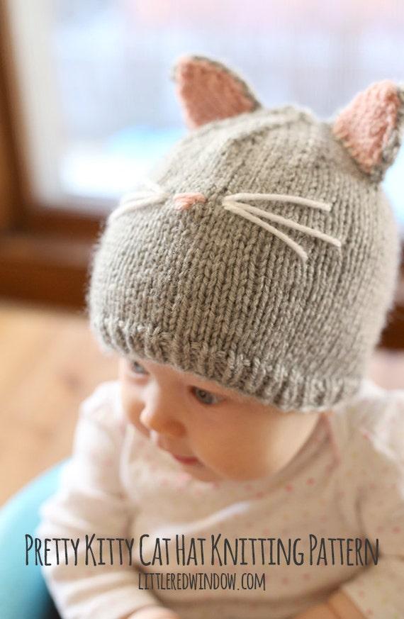 Katze Mütze Strickanleitung / Baby Katzenmuster / Hut für Baby | Etsy