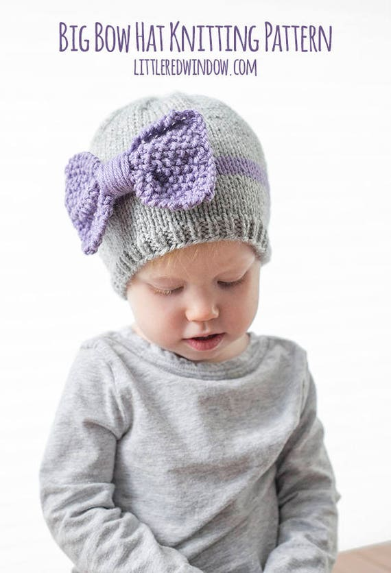 Big Bow Baby Hat KNITTING PATTERN Big Bows Newborn Baby Etsy Cool Hat Knitting Patterns