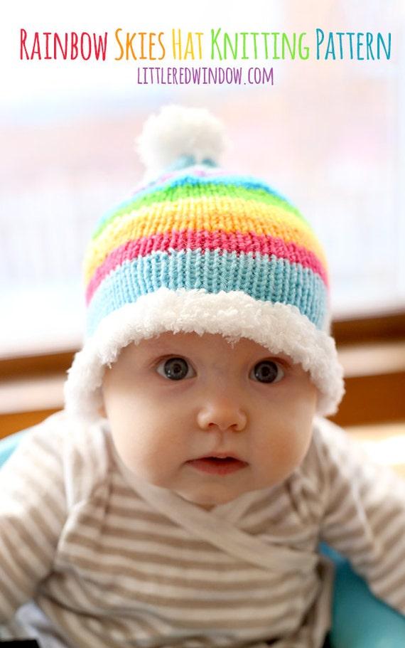 Regenbogen-Himmel-Baby-Mütze Strickanleitung stricken Baby | Etsy