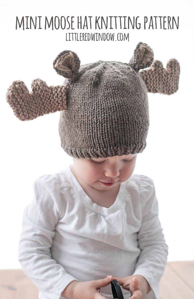 a37e11399 Moose Hat KNITTING PATTERN   Woodland Baby Hat   Winter Animal