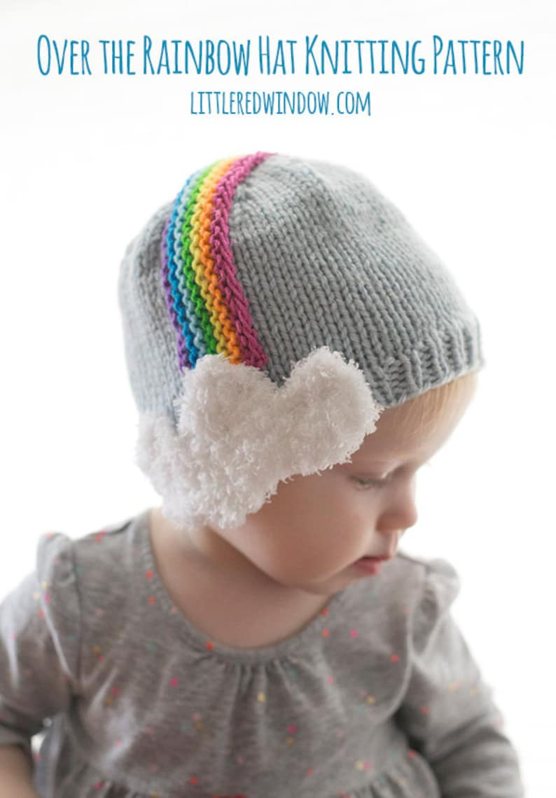 Over the Rainbow Baby Hat KNITTING PATTERN   Knit Rainbow Hat  93ac3f66c3ca