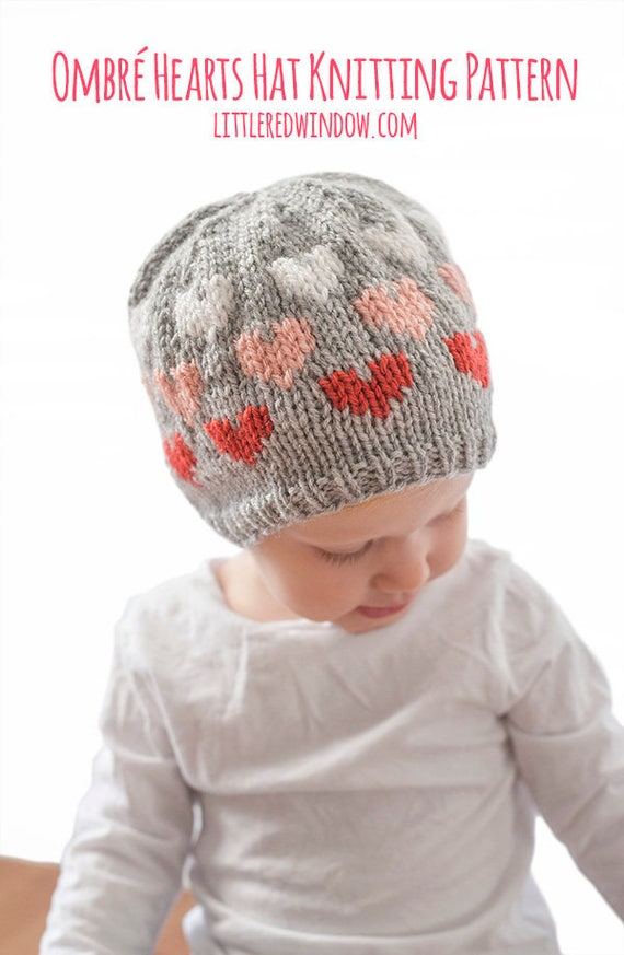 Ombre Baby Heart Hat KNITTING PATTERN   Heart Hat Pattern    954e6ef0117