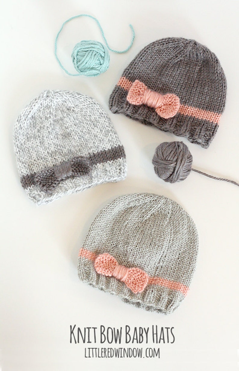 Baby Bow Hat KNITTING PATTERN  //  Knitting Pattern for image 4