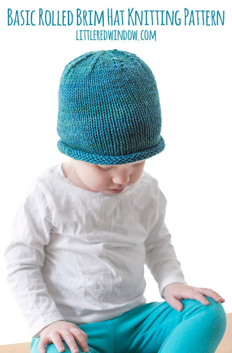 9e38f04be27 Easy Rolled Brim Baby Hat KNITTING PATTERN   Brimmed Hat