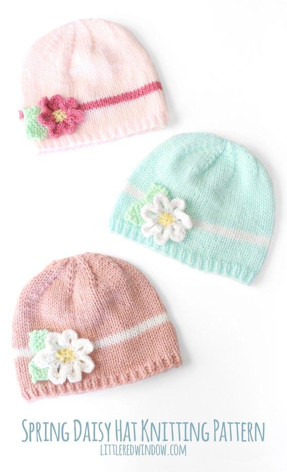 Baby Flower Hat KNITTING PATTERN / Easy Baby Hat Pdf / Spring   Etsy