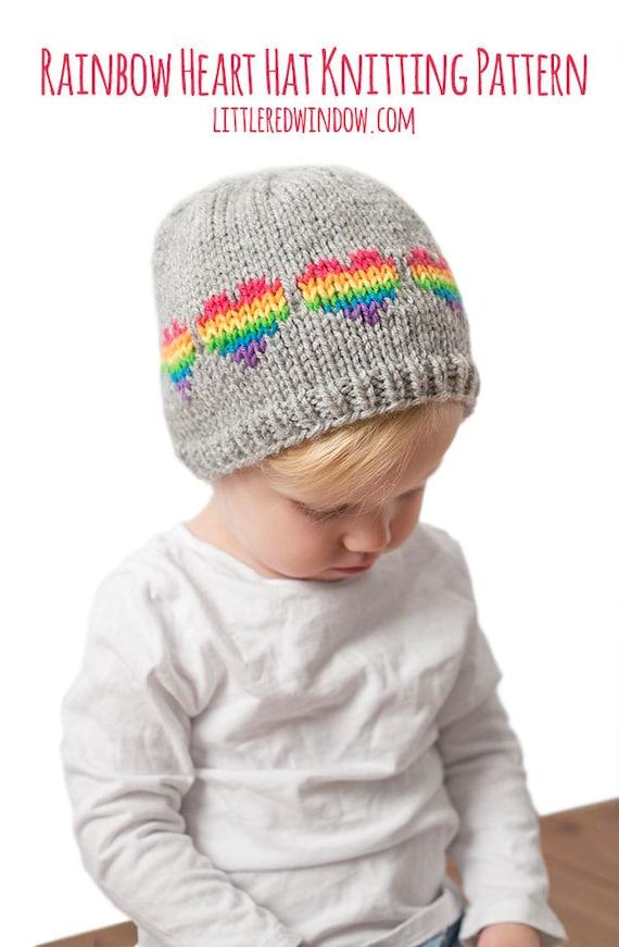 Baby Rainbow Heart Hat Knitting Pattern Heart Hat Pattern Etsy