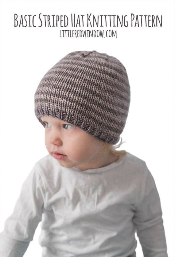 Easy Striped Baby Hat Knitting Pattern Striped Hat Pattern Etsy