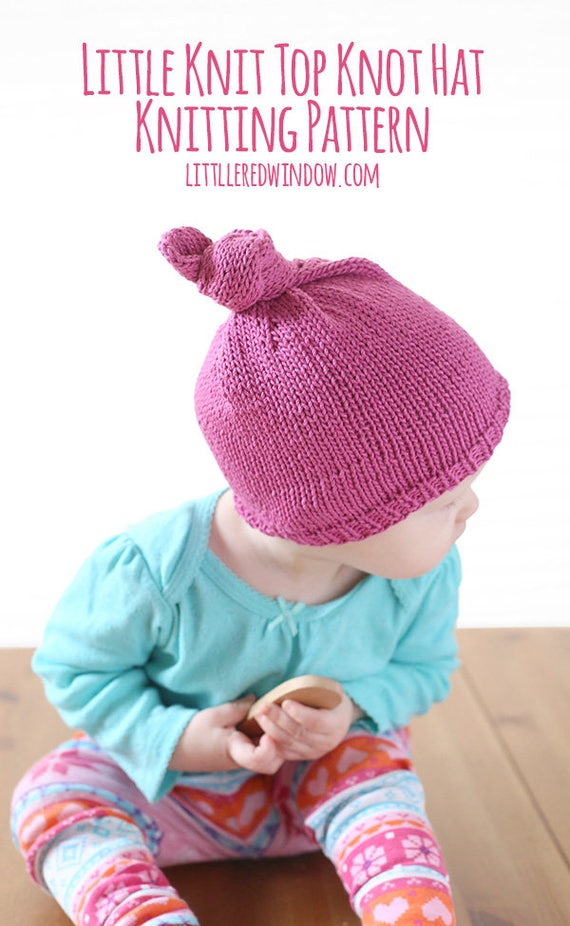 Top Knot Hat KNITTING PATTERN   Top Knot Hat Pattern   Baby  9c0b4447d40