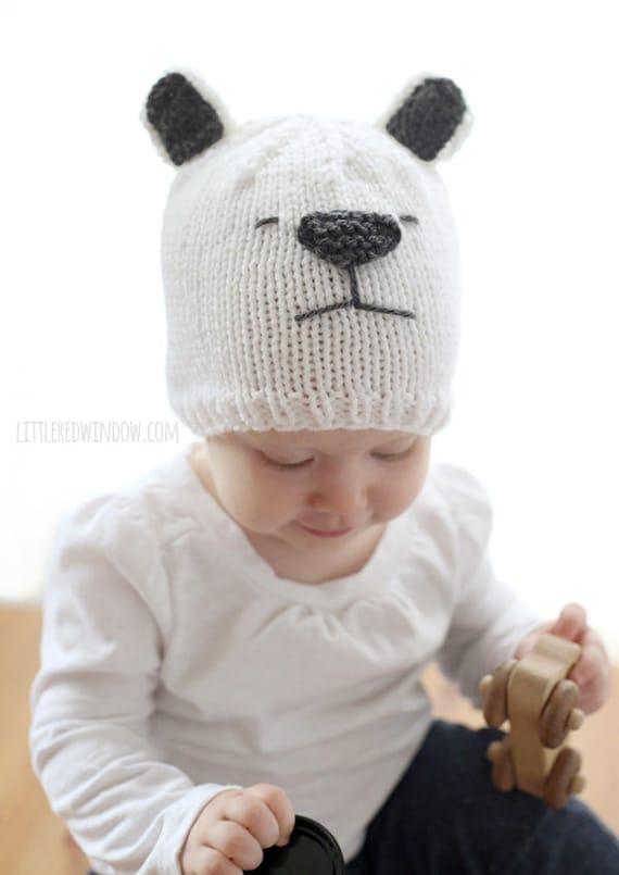 3edaa247189 Baby Polar Bear Hat KNITTING PATTERN   Polar Bear Baby Hat