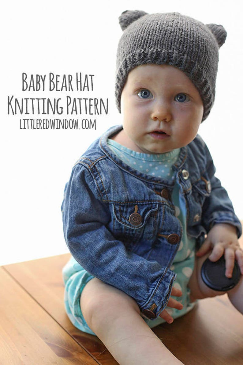 d960d17838b Baby Bear Hat KNITTING PATTERN with ears   Bear Hat Pattern